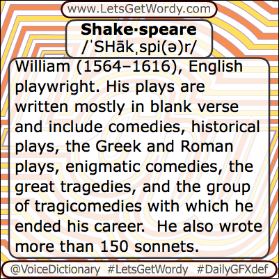 Shakespeare 04/23/2013 GFX Definition of the Day