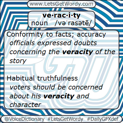 Veracity 02/03/2013 GFX Definition of the Day
